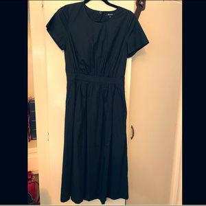 Madewell black short-sleeved open-back midi dress
